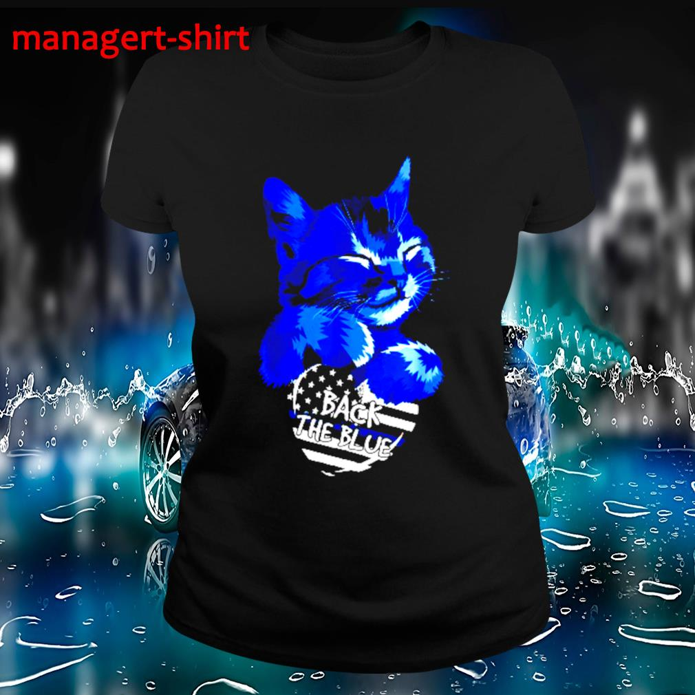 Cat Hug heart back the blue s Ladies-tee