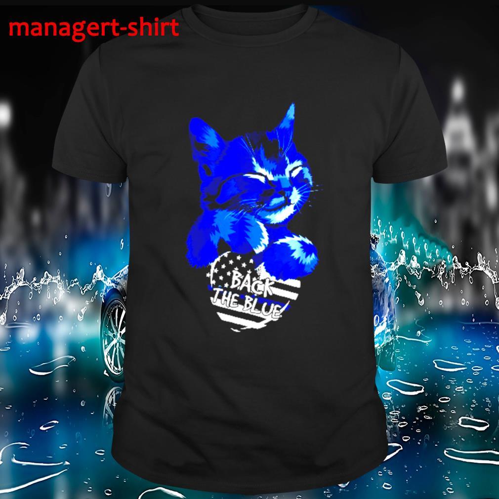 Cat Hug heart back the blue shirt