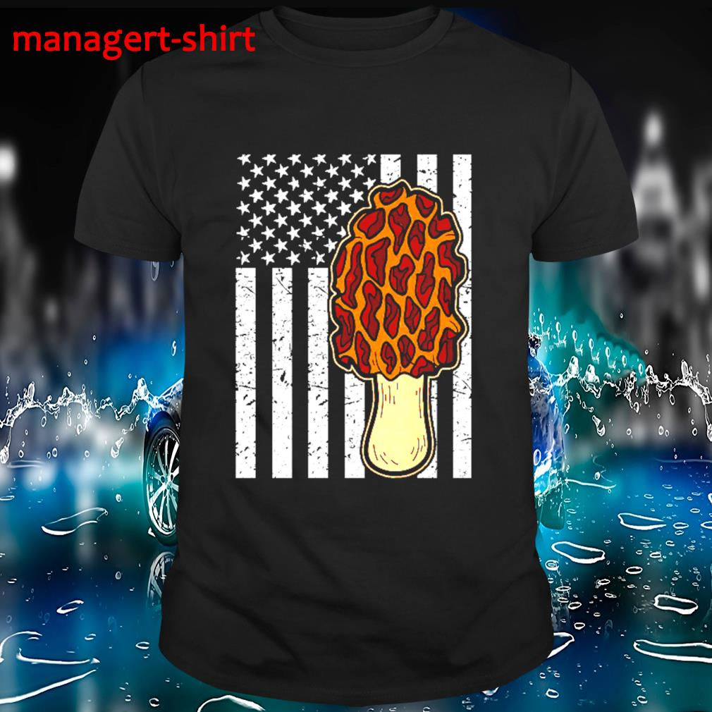 Original morel mushroom hunting American flag usa flag shirt