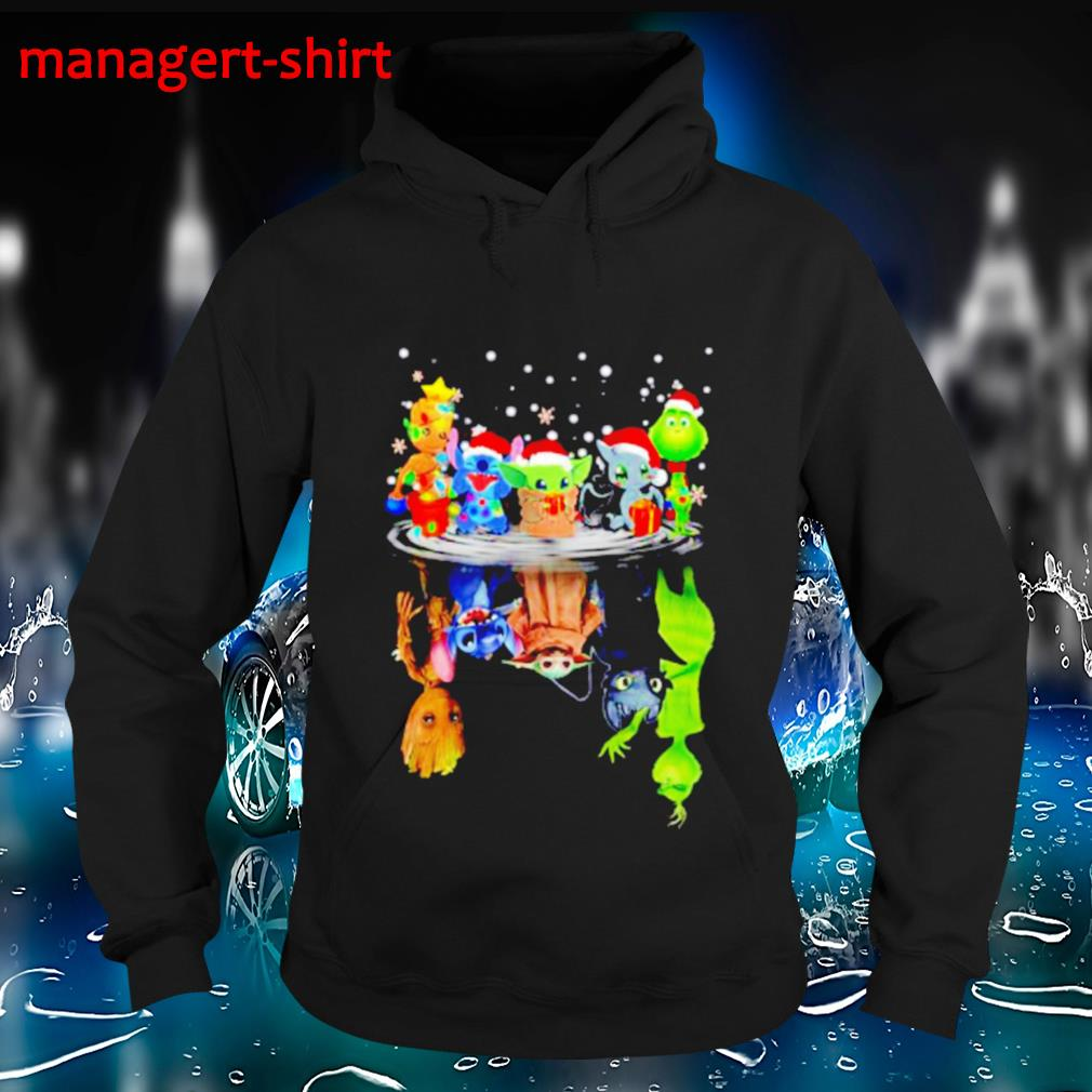 Baby Groot Stitch baby Yoda water reflection mirror Christmas s Hoodie