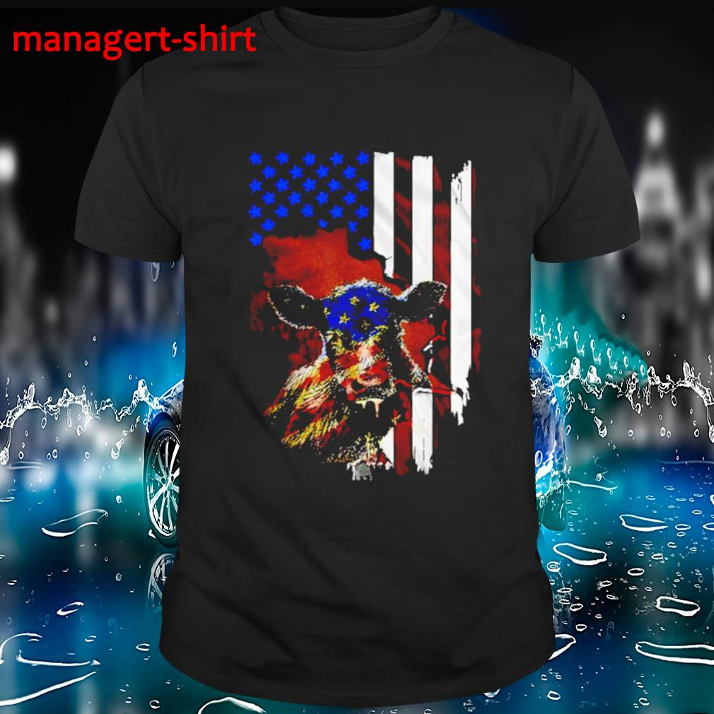 Cow American flag shirt
